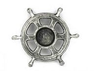 Antique Silver Cast Iron Ship Wheel Decorative Tealight Holder 5.5