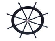 Deluxe Class Wood and Chrome Decorative Pirate Ship Steering Wheel 60
