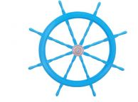 Deluxe Class Light Blue Wood and Chrome Decorative Ship Steering Wheel 48