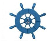 Rustic All Light Blue Decorative Ship Wheel With Anchor 9