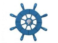 Rustic All Light Blue Decorative Ship Wheel With Seashell 9