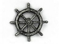 Antique Silver Cast Iron Ship Wheel Bottle Opener 3.75