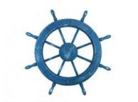Wooden Rustic All Light Blue Decorative Ship Wheel 30