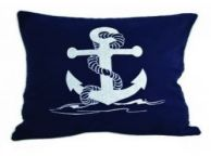 Navy Blue and White Anchor Pillow 15