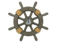Antique Decorative Ship Wheel With Sailboat 12