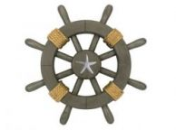 Antique Decorative Ship Wheel With Starfish 12