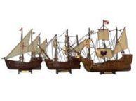 Wooden Santa Maria, Nina & Pinta Model Ship Set