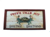 Wooden Petes Crab Pot Sign 24