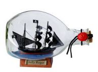 Captain Hooks Jolly Roger Pirate Ship in a Glass Bottle 7