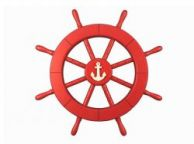 Red Ship Decorative Wheel with Anchor 18