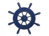 Rustic All Dark Blue Decorative Ship Wheel 9