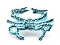 Dark Blue Whitewashed Cast Iron Crab Napkin Ring 2.5 - set of 2