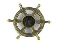 Antique Gold Cast Iron Ship Wheel Decorative Tealight Holder 5.5