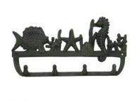 Antique Seaworn Bronze Cast Iron Wall Mounted Seahorse and Fish Hooks 12