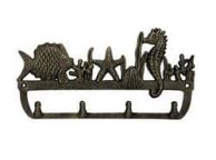 Rustic Gold Cast Iron Wall Mounted Seahorse and Fish Hooks 12