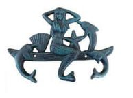 Seaworn Blue Cast Iron Wall Mounted Mermaid with Dolphin Hooks 9