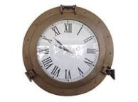 Antique Brass Decorative Ship Porthole Clock 17