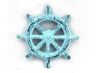 Dark Blue Whitewashed Cast Iron Ship Wheel Bottle Opener 3.75
