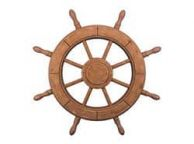 Rustic Wood Finish Decorative Ship Wheel 24