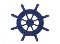 Rustic Dark Blue Decorative Ship Wheel 6
