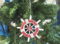 Rustic Red and White Decorative Ship Wheel With Anchor Christmas Tree Ornament 6