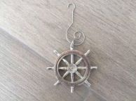 Chrome Ship Wheel Christmas Ornament 5