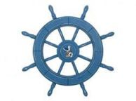 Rustic All Light Blue Decorative Ship Wheel With Seagull 24