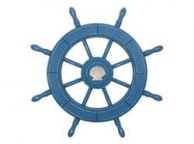 Rustic All Light Blue Decorative Ship Wheel With Seashell 24