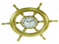 Antique Solid Brass Ship Wheel Clock 18