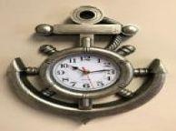 Silver Ship Wheel and Anchor Wall Clock 15