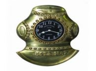 Antique Solid Brass Divers Helmet Clock 17