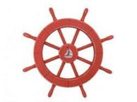 Rustic Red Decorative Ship Wheel With Sailboat 18