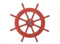 Rustic Red Decorative Ship Wheel With Seagull 18