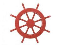 Rustic Red Decorative Ship Wheel 18