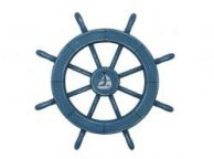 Rustic All Light Blue Decorative Ship Wheel With Sailboat 18