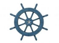 Rustic All Light Blue Decorative Ship Wheel With Starfish 18