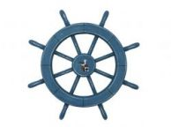 Rustic All Light Blue Decorative Ship Wheel With Seagull 18