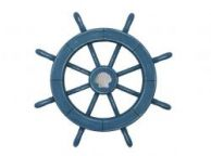Rustic All Light Blue Decorative Ship Wheel With Seashell 18