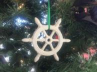 Antique White Cast Iron Ship Wheel Decorative Christmas Ornament 4