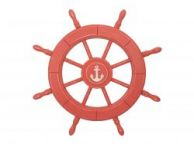 Rustic Red Wood Finish Decorative Ship Wheel With Anchor 24