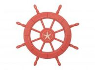 Rustic Red Wood Finish Decorative Ship Wheel With Starfish 24