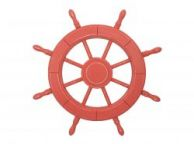 Rustic Red Wood Finish Decorative Ship Wheel 24