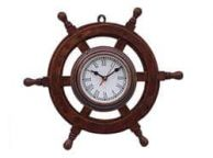 Deluxe Class Wood and Antique Copper Ship Steering Wheel Clock 18