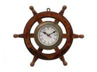 Deluxe Class Wood and Antique Brass Ship Steering Wheel Clock 18