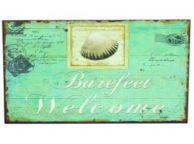 Tin Bare Feet Welcome Sign 13