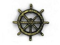 Antique Gold Cast Iron Ship Wheel Bottle Opener 3.75
