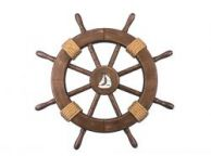 Rustic Wood Finish Decorative Ship Wheel with Sailboat 18