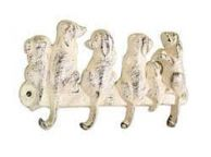 Whitewashed Cast Iron Dog Wall Hooks 8