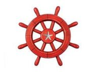 Rustic All Red Decorative Ship Wheel With Starfish 12