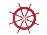 Deluxe Class Dark Red Wood and Chrome Decorative Ship Steering Wheel 36